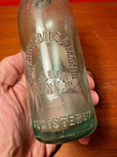 McCarthy Bros & Martin 1900s Hutchinson Stopper Green Glass Bottle Riverside NY