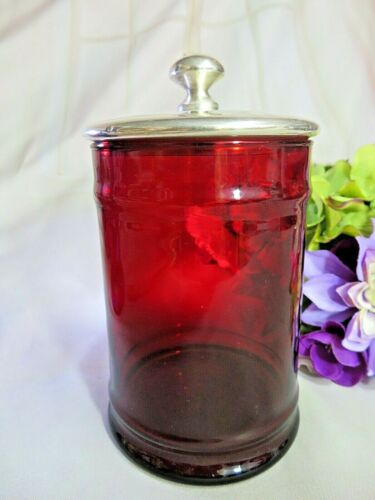 ANTIQUE Victorian RUBY red BLOWN glass BISCUIT JAR with silver plate LID