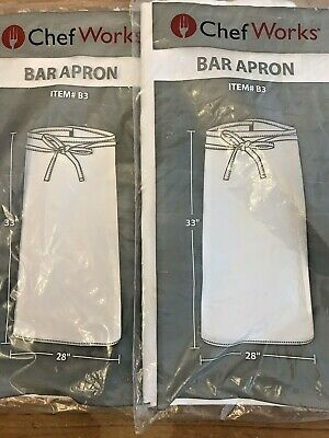 White Bar Apron Lot Of 2 Chef Works Item B3 Wht0 New Chef Cook Gift