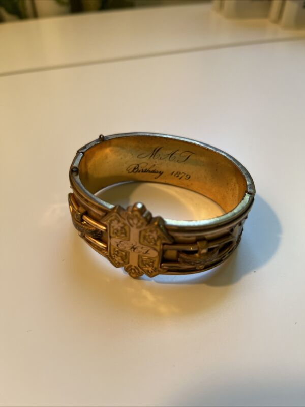 Victorian Gold Filled Engraved Hinged Etruscan Gothic Cuff 1879