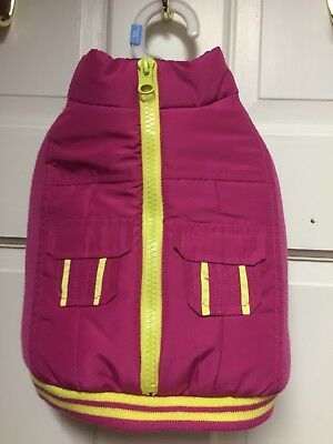 NWT SIZE SMALL FUCHSIA & YELLOW PUFFY WINTER JACKET FOR SMALL DOG BREEDS