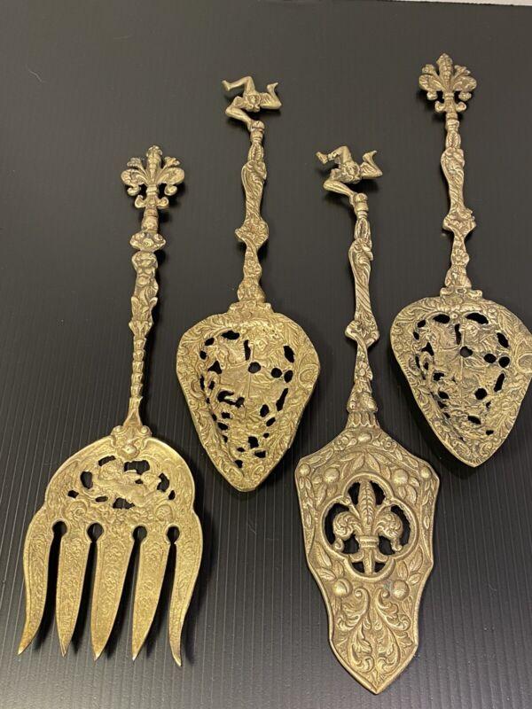 Vintage Ugo Bellini Italian Florentine silver plate serving utensils