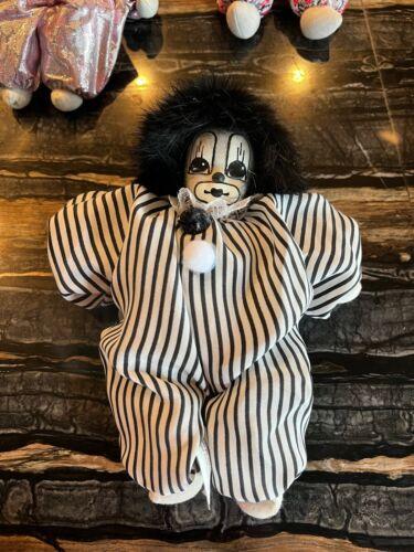 Q-Tee Clown Doll Handmade/Painted Eggplant Hair Sand Filled Thailand 1987