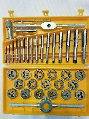 Vintage 40 Piece Tap Die Set Course And Fine Thread In Yellow Case Japan Made