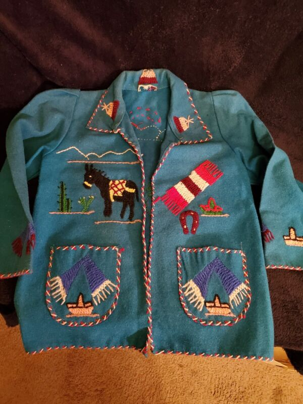 Vintage Lopez Children's Jacket Made in Mexico Wool Green/Blue? Long Sleeve