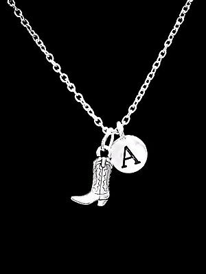 Cowboy Boot Necklace Cowgirl Country Western Gift Initial Jewelry