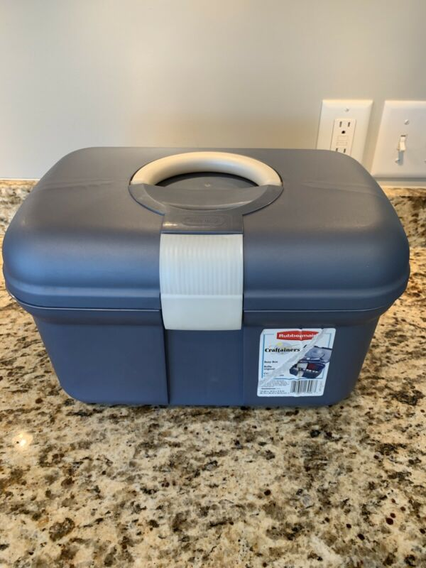 Rubbermaid Blue/Gray Storage Craftainer Craft Sewing Tool Box Tote Container