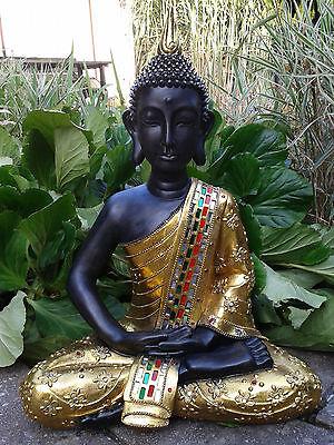 XXL Thai Buddha Budda Figur Statue Feng Shui sitzend Gold / Braun Neu ca. 65 cm