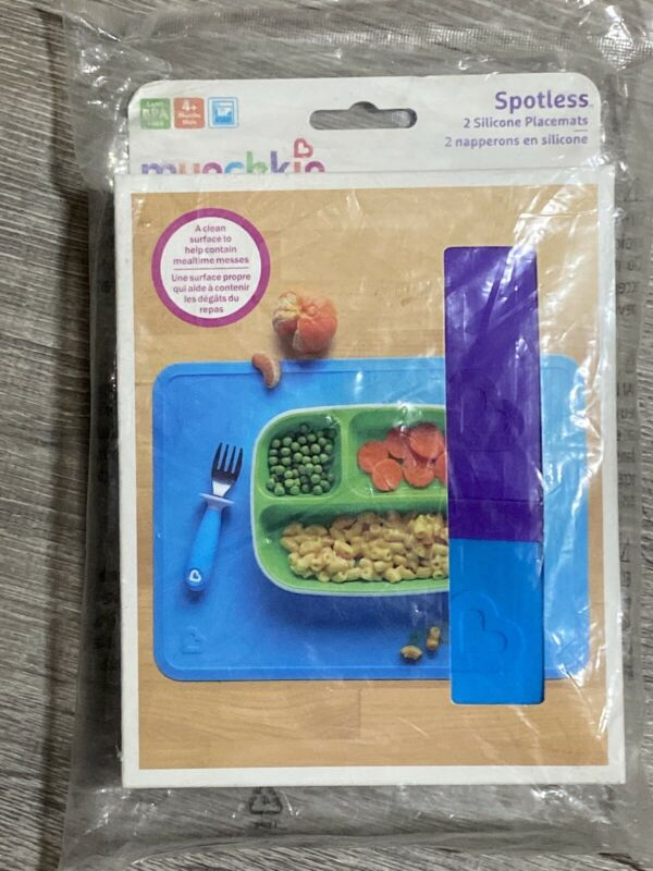 New Sealed Munchkin Spotless Silicone Placemats for Kids 2 Pack Blue/Purple