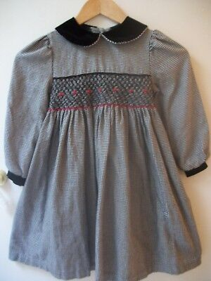 BONNIE JEAN Girls Size 6 BLACK GINGHAM SMOCKED DRESS - RETAILS -