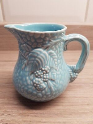 Vintage Blue Textured Small Wade Cream Milk Jug With Grape And Leaves Design