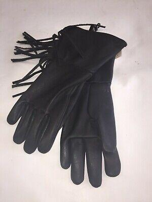 Sullivan Glove Co. Men's Cowhide Gauntlet Gloves WITH FRINGE Black MADE IN USA