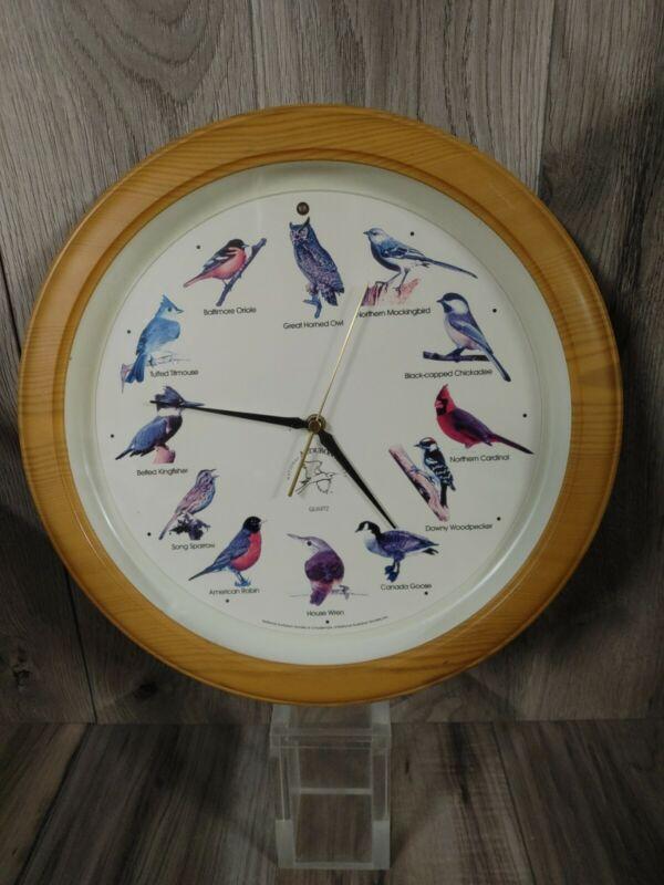 "National Audubon Society Quartz Singing Birds Wall Clock Nature Sounds 13"""
