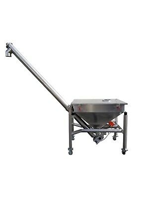 Stainless Steel Screw Conveyor With Hopper. Auger Feeder