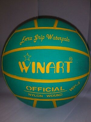 72d312b1e9f3c WINART water polo ball, extra grip, used, size 4, green w/yellow lines