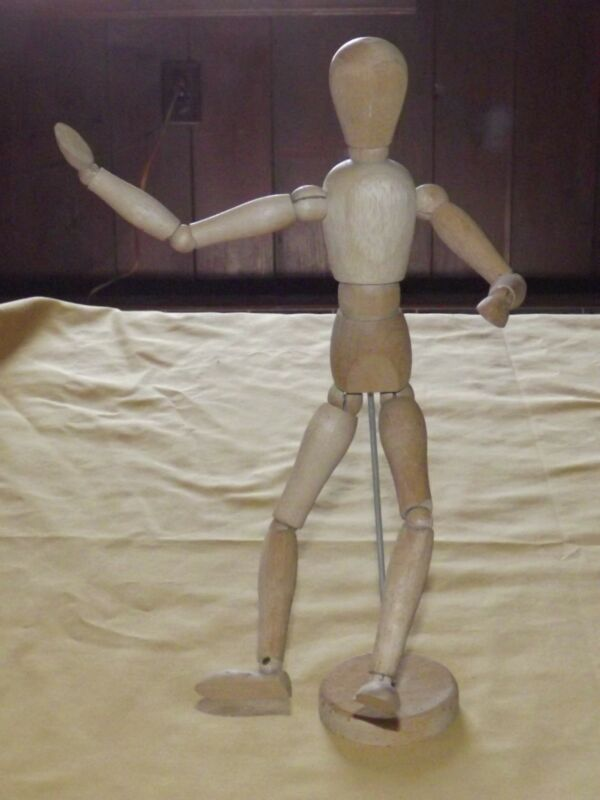 """12"""" WOOD ARTICULATED MAN MOVABLE BENDABLE FIGURE MODEL"""
