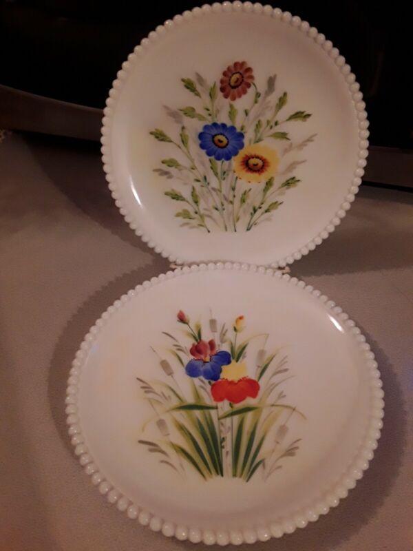 Westmoreland Plates ~ set of 2~Milk Glass Beaded Edge Hand Painted Iris / Daisy