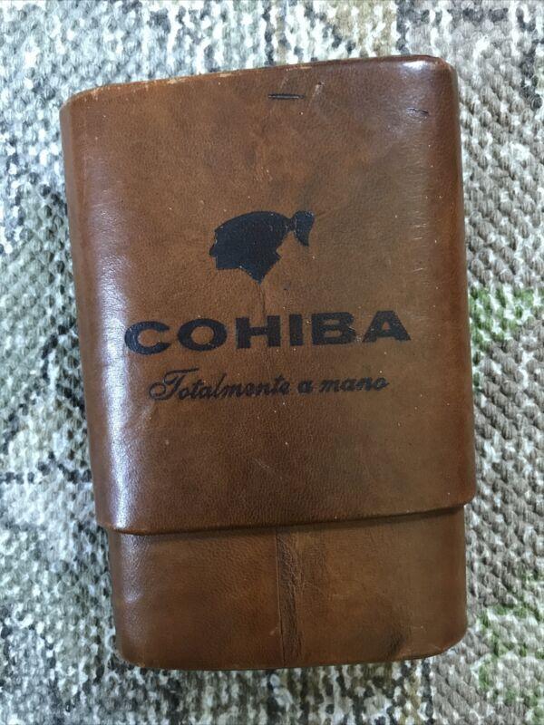 COHIBA Brown  Leather Lining Cedar 6 Tube Humidifier Cigar Case Humidor VTG