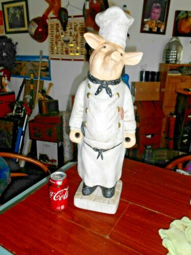 """Large Chef Pig Statue Figure Can Hold Spoons Spatulas 26"""" Tall"""