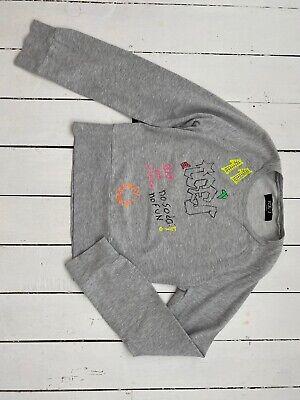 Iceberg Jeans Graffiti Print Rhinestone Jersey Sweat Jumper 8 10