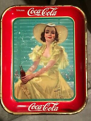 Vintage 1938 Coca Cola Serving Tray *Lady in The Yellow Dress* Bradshaw Crandall