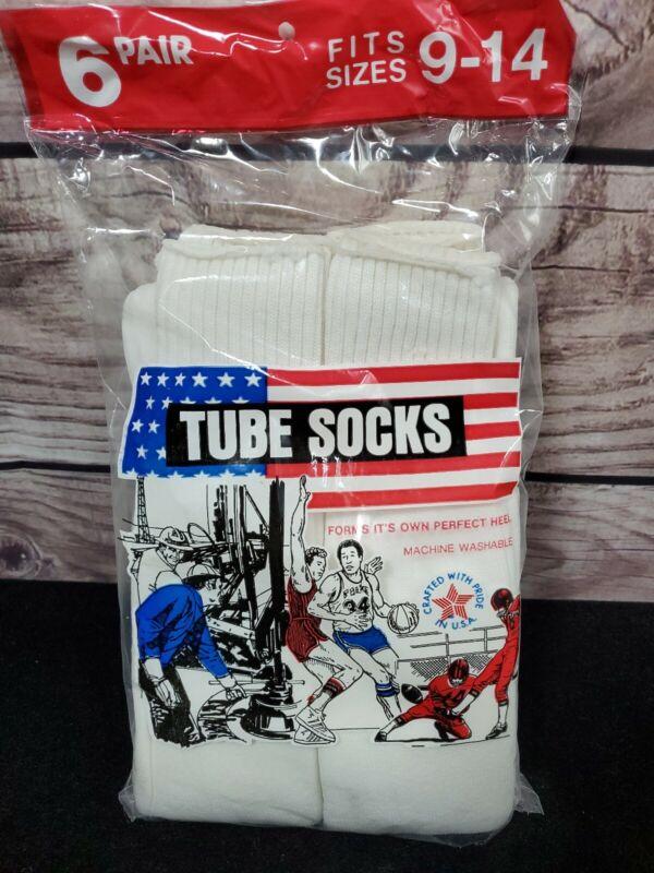 Vintage Dead Stock 70s Tube Socks 6 pair Pack  9-14 White  made in USA