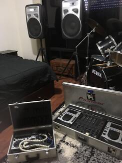 Speakers (Active 600w) & Stands, Pioneer Mixer (DJM-500)