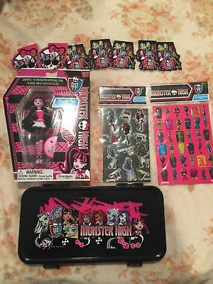 Monster High Doll Pen Draculaura pencil case stickers note pad lot set new abbey - Monster High Character Dolls