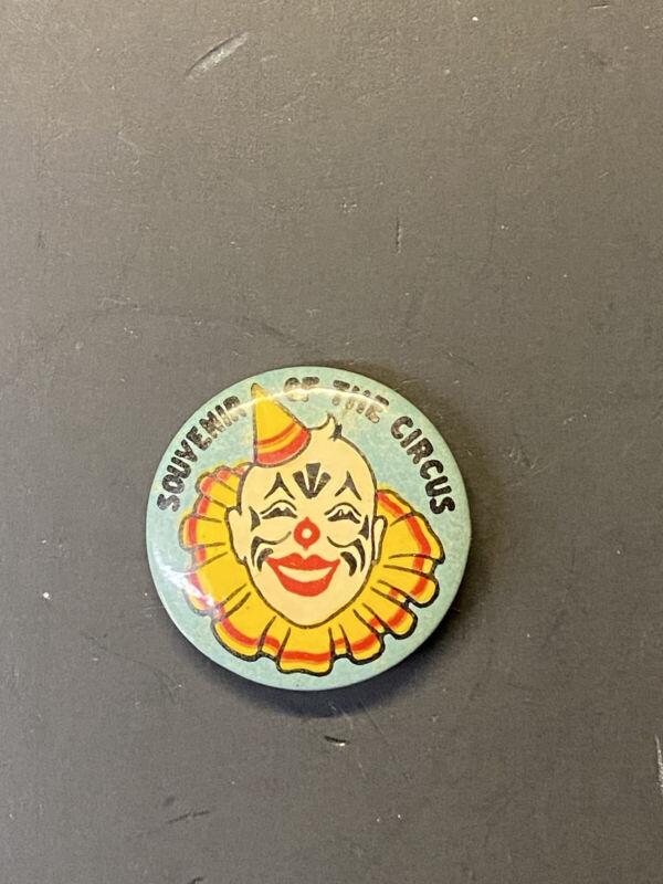 Vintage 1930s 1940s Souvenir of the Circus Celluloid Pin Back Button