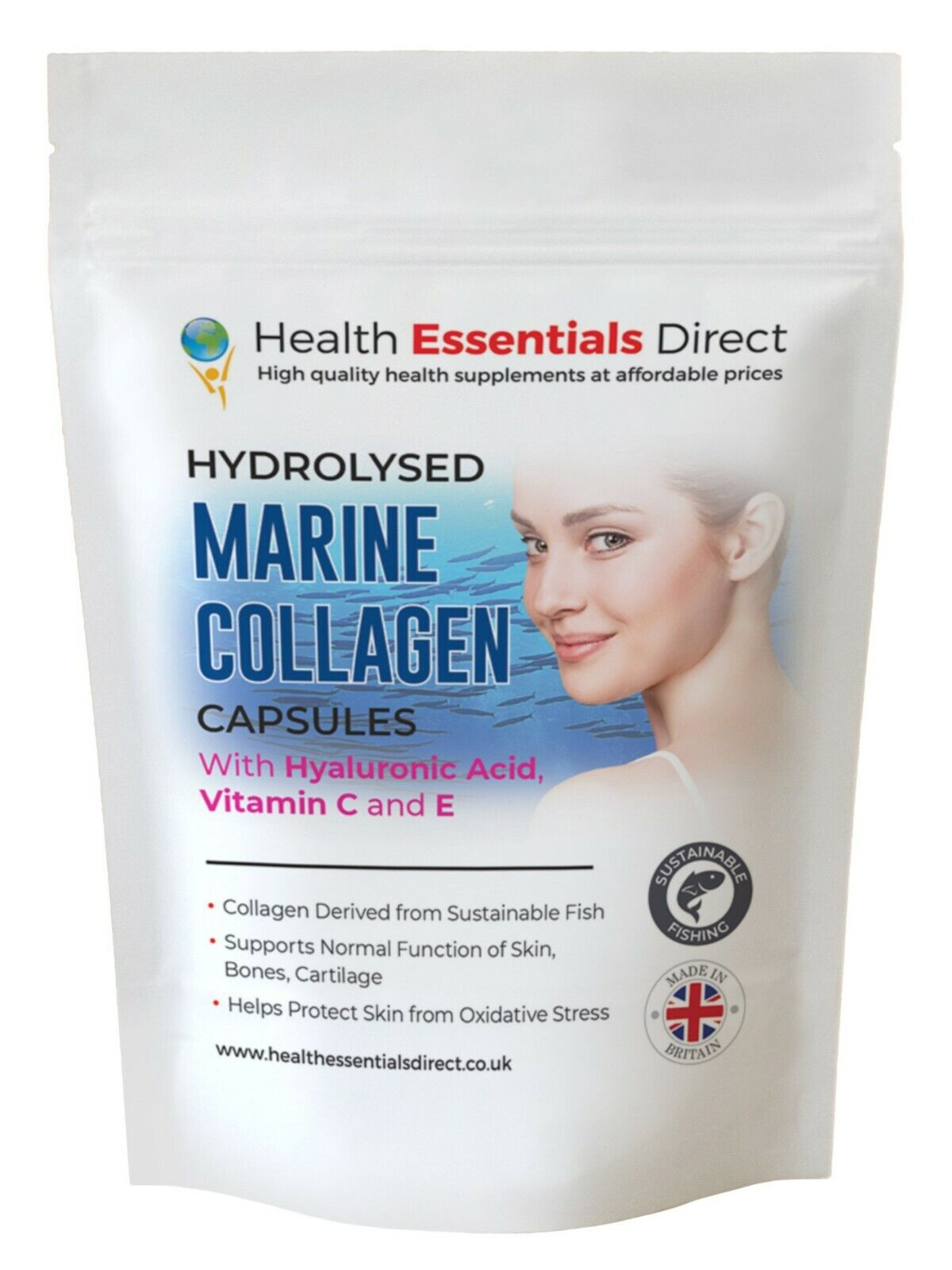 hydrolysed marine collagen complex capsules with hyaluronic