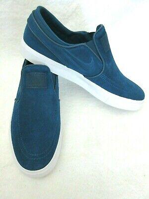 Nike Mens Zoom Stefan Janoski Slip Suede Skate Shoes Blue Force White Size 12