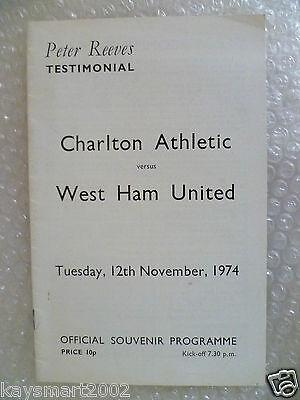 1974 Peter Reeves Testimonial Match CHARLTON ATHLETIC v WEST HAM UNITED,12 Nov