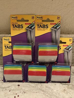 5 Packs Post-it Angled Filing Tabs 24 Pack 686a-alyr 120 Total Tabs