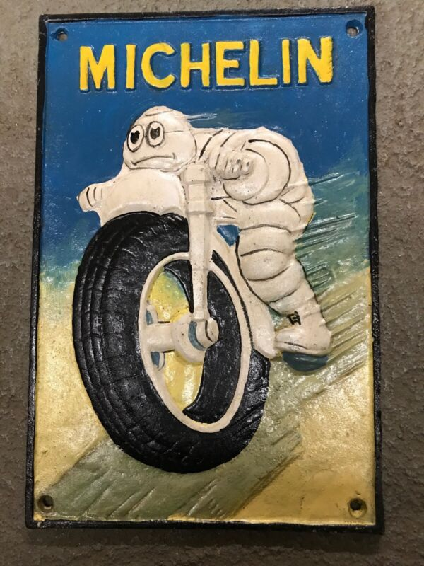 michelin man bibendum On Motorcycle Cast Iron Sign