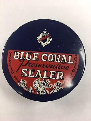VINTAGE 1950s BLUE CORAL PRESERVATIVE CAR SEALER COBALT GLASS JAR NEAR FULL