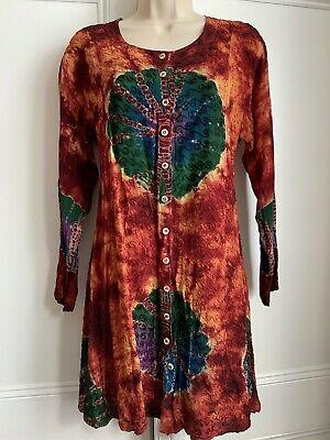 Vintage Indian-style hippie boho long sleeve button through tunic dress M 12-14