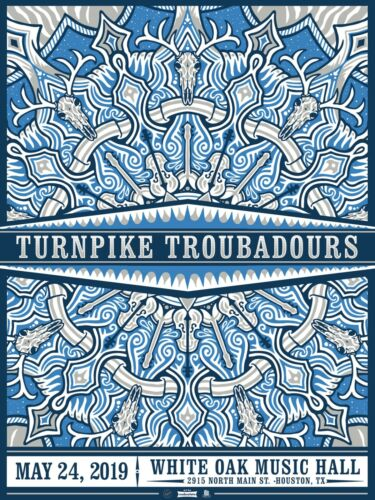 TURNPIKE TROUBADOURS 2019 HOUSTON CONCERT TOUR POSTER -Country, Americana, Roots