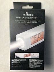 Marathon CL030045-WH World Travel Atomic Alarm Clock with LED Flashlight - Emerg