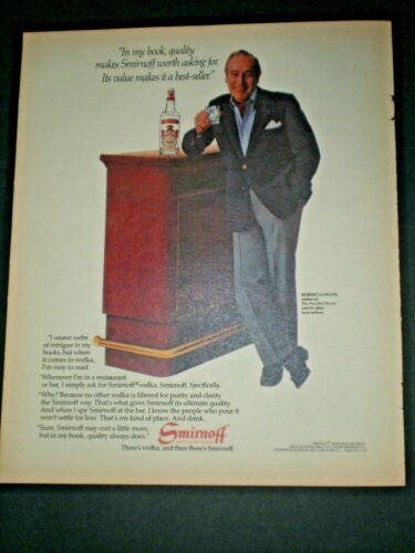1982 ROBERT LUDLUM AUTHOR PARSIFAL MOSAIC vintage SMIRNOFF VODKA Trade print ad