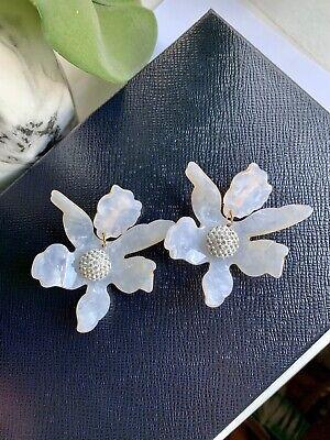 Large White Resin Flower Earrings Bohemian Floral Stud Dangle Clip On Earrings Clip White Earrings