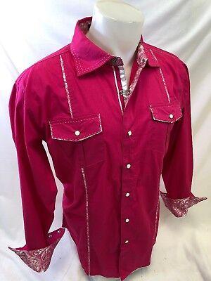 Mens VICTORIOUS WESTERN HOT PINK Designer Shirt Woven PAISLEY TRIM Snap Up SH254 Pink Trim Snap