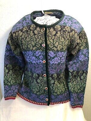 OLEANA Norwegian Story Womens Wool Cropped Cardigan Sweater Size S Velvet Trim Velvet Trim Cardigan