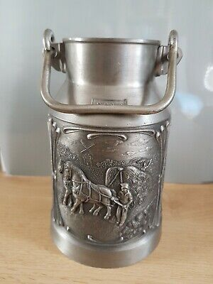 EMBOSSED GERMAN PEWTER MILK CHURN WITH HANDLE. FARM SCENES/QUOTES