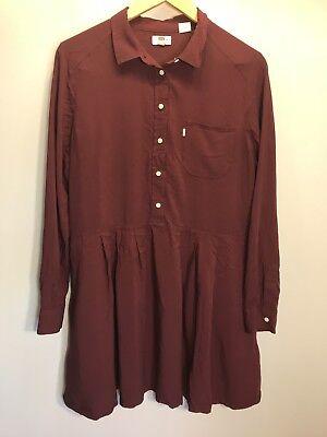 Levis Womens Large Button Down Shirt Dress Long Sleeve Pocket ()