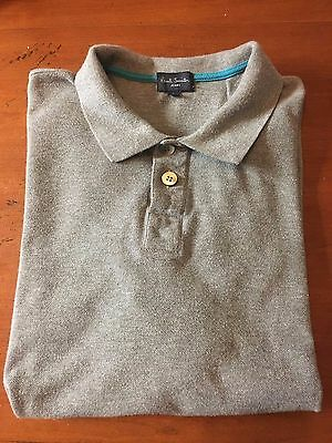 Paul Smith Jeans Men's Gray Short Sleeve Polo Shirt size L EUC