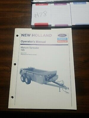 New Holland Ford Model 195 Manure Spreader Operators Manual