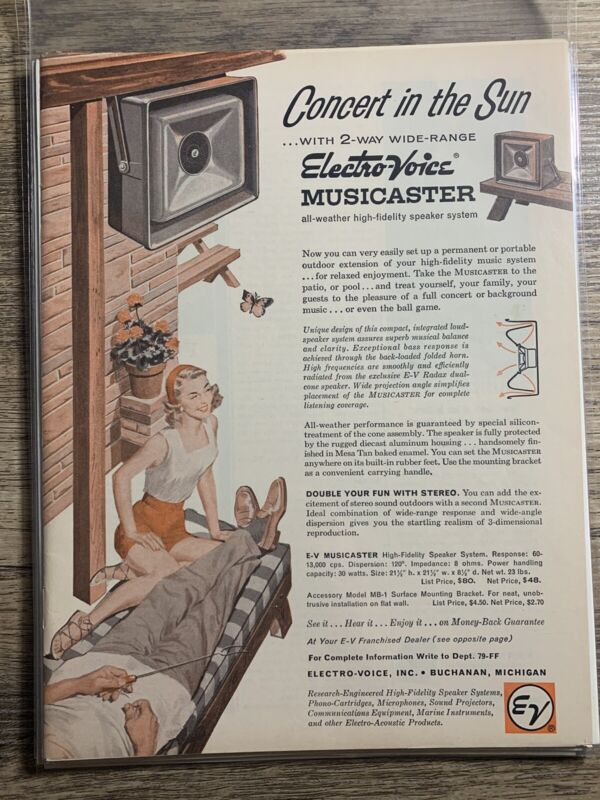 Vintage Print Ad - 1960 - Electro-Voice Musicaster Outdoor Speaker -
