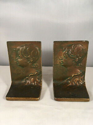 """Pair of """"Father Time"""" Bookends in Bronze Finish by Kronheim & Oldenbusch"""