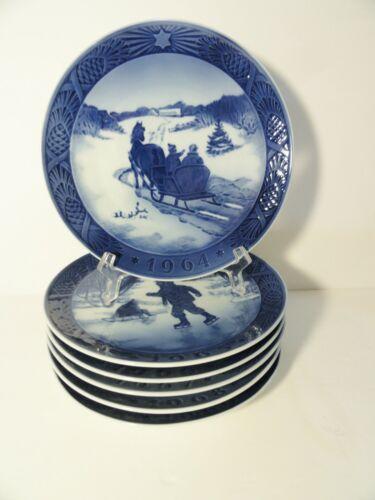 6 Royal Copenhagen Annual Christmas Plates - 1964, 1965, 1966, 1967, 1968 &1969