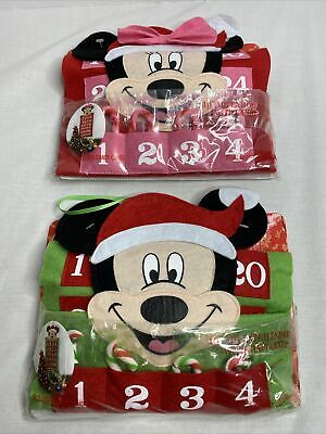 """2 New Mickey Mouse 19"""" Advent Calendars w 24 Candy Canes each Expired 2012 2013?"""